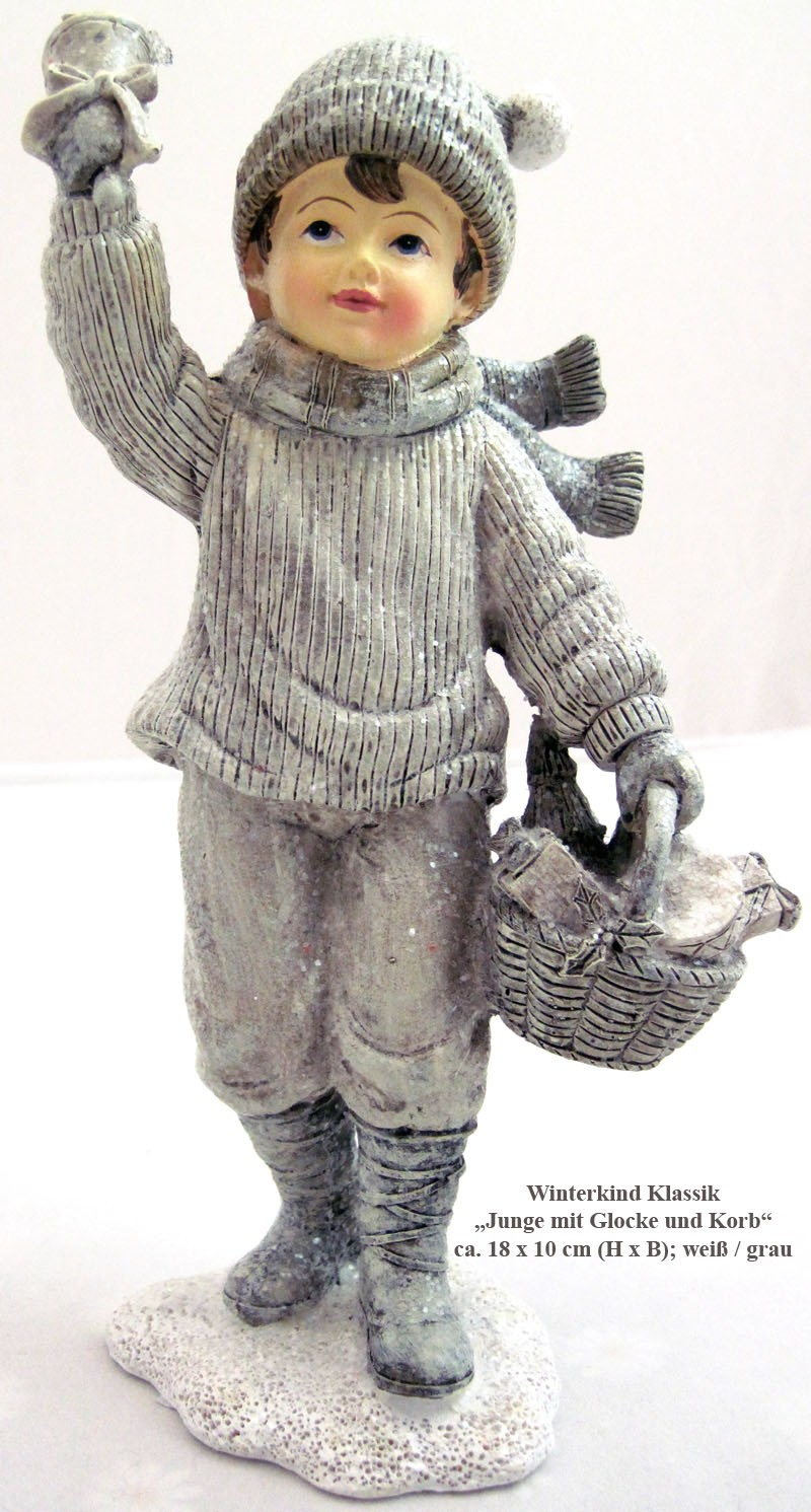 "Winterkind  ""Junge m.Glocke&Korb"" creme/grau/glitzer ca.18x10cm"