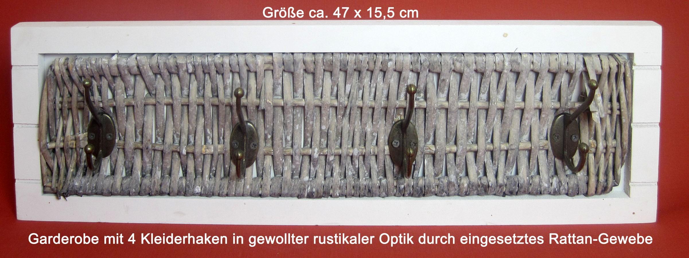 Garderobenhaken Rustikal  mit Rattangewebe ca. 47 x 15,5 cm