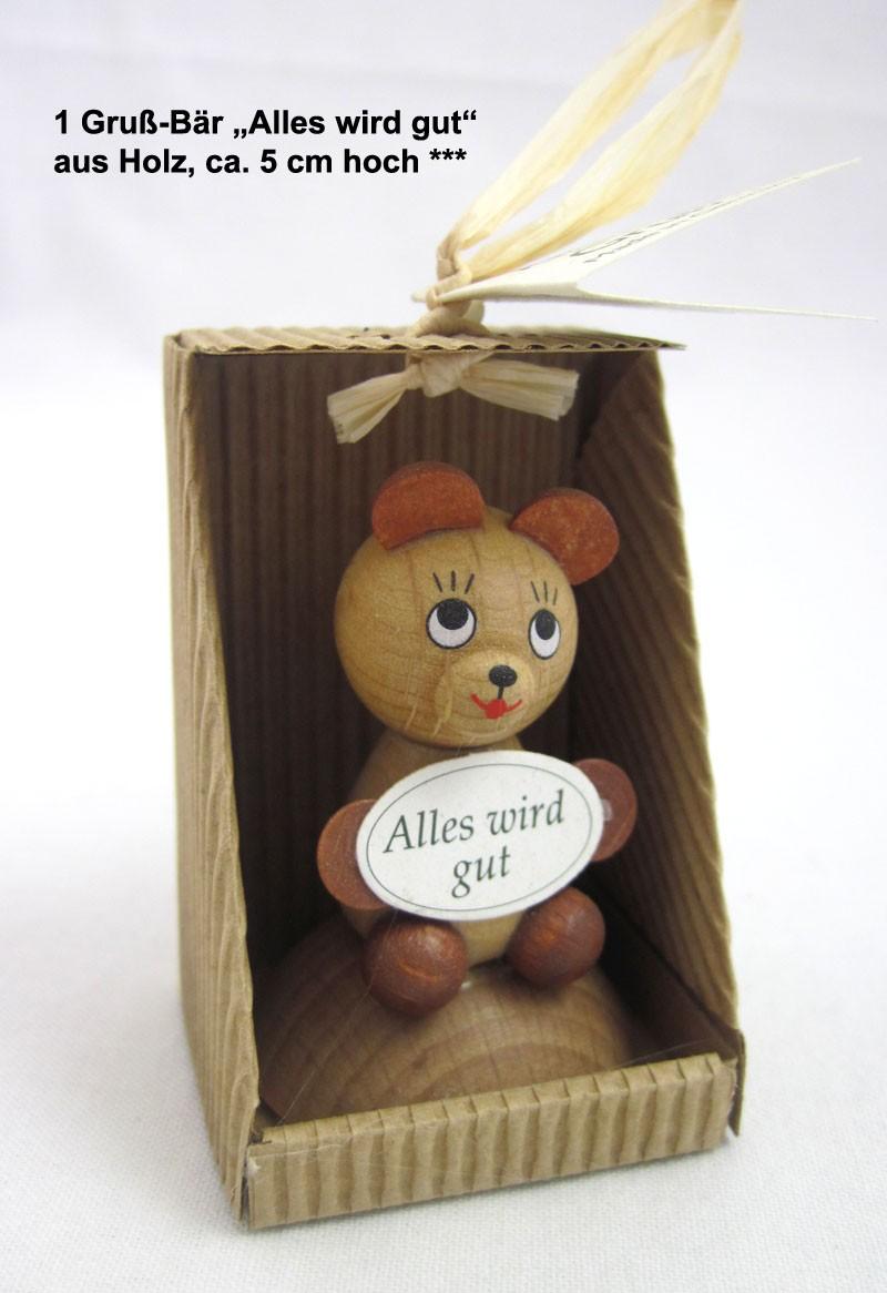 "1 Gruß - Bär ""Alles wird gut"" aus Holz, ca. 5 cm hoch"