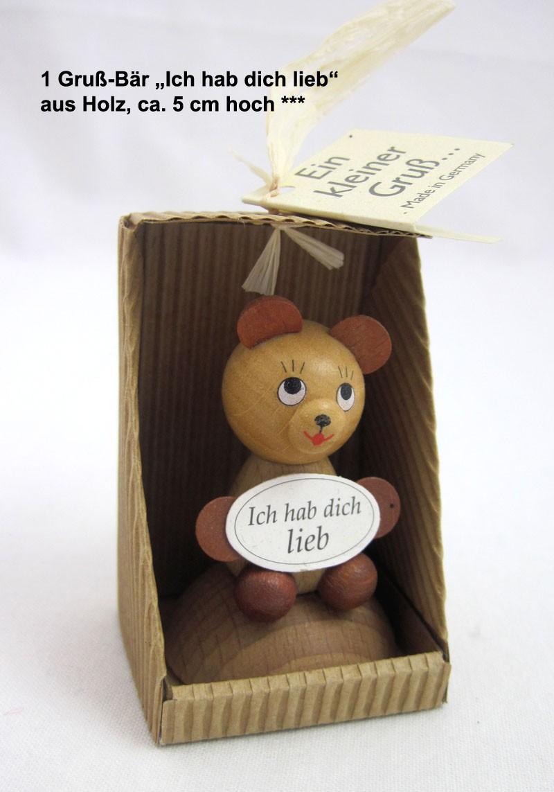"1 Gruß - Bär ""Ich hab dich lieb"" aus Holz, ca. 5 cm hoch"