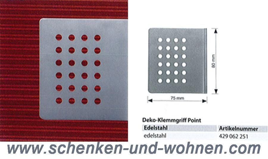 Deko-Klemmgriff Point 75 x 80 mm Edelstahl