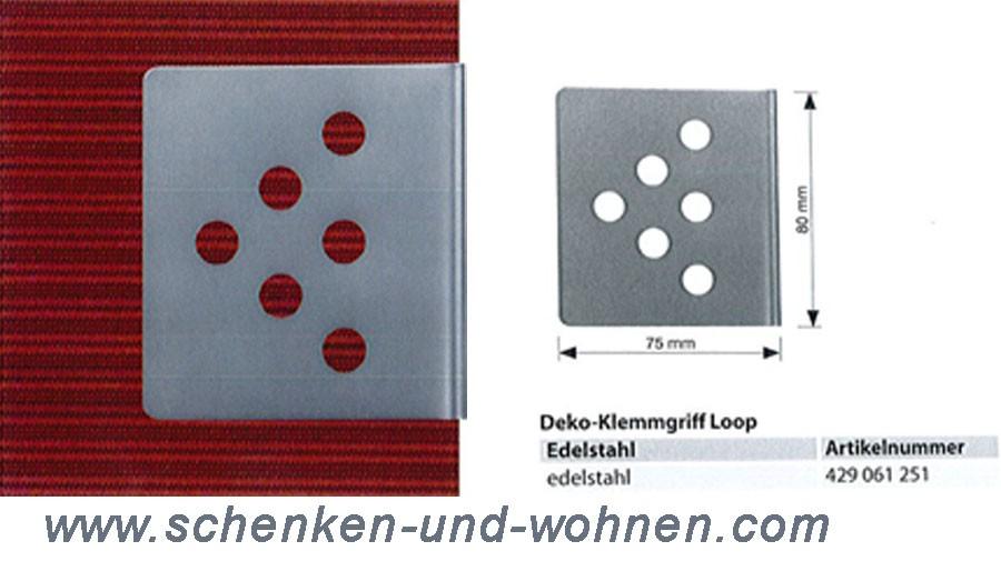 Deko-Klemmgriff Loop 75 x 80 mm Edelstahl