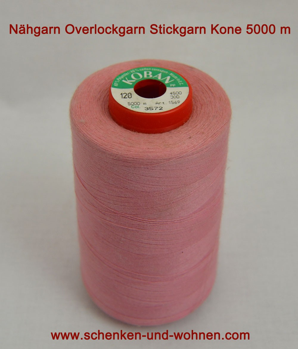Nähgarn, Overlockgarn Stickgarn 120 Kone 5000 m Fb. 3572 rosa dunkel