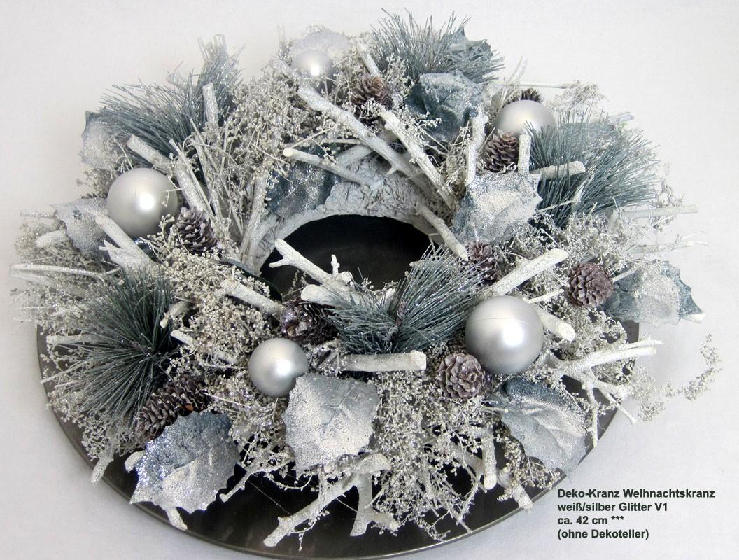 Deko-Kranz Weihnachtskranz weiß/silber Glitter V1, ca. 42 cm Durchmesser