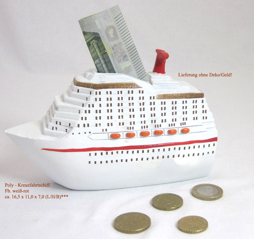 Keramik-Spardose Kreuzfahrtschiff ca. 16,5 x 11,0 x 7,0 (L/H/B)