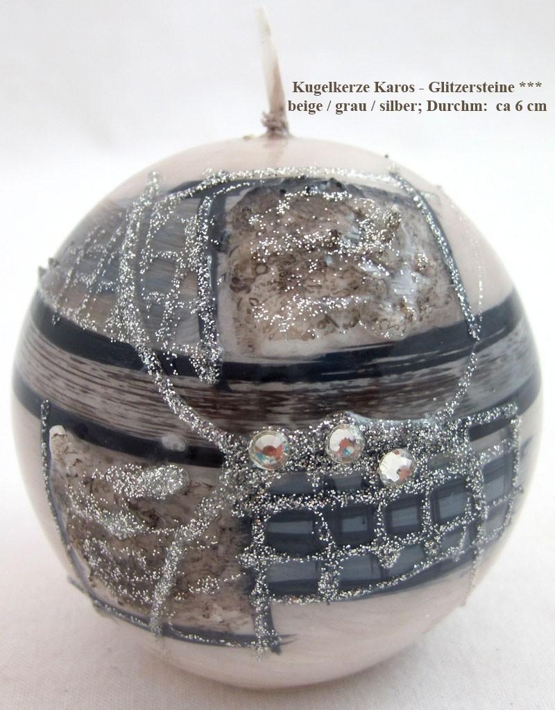 """Kugelkerze """"Karos-Glitzersteine"""" beige / grau / silber; ca. 6 cm"""