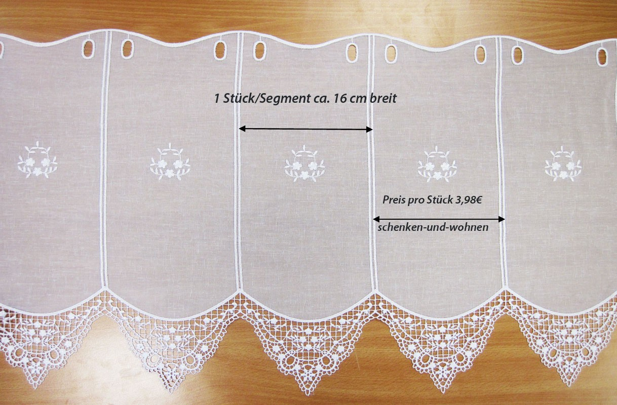 1 Stück/Teil Kurzgardine im Landhausstil ca. 45 cm hoch und 16 cm breit