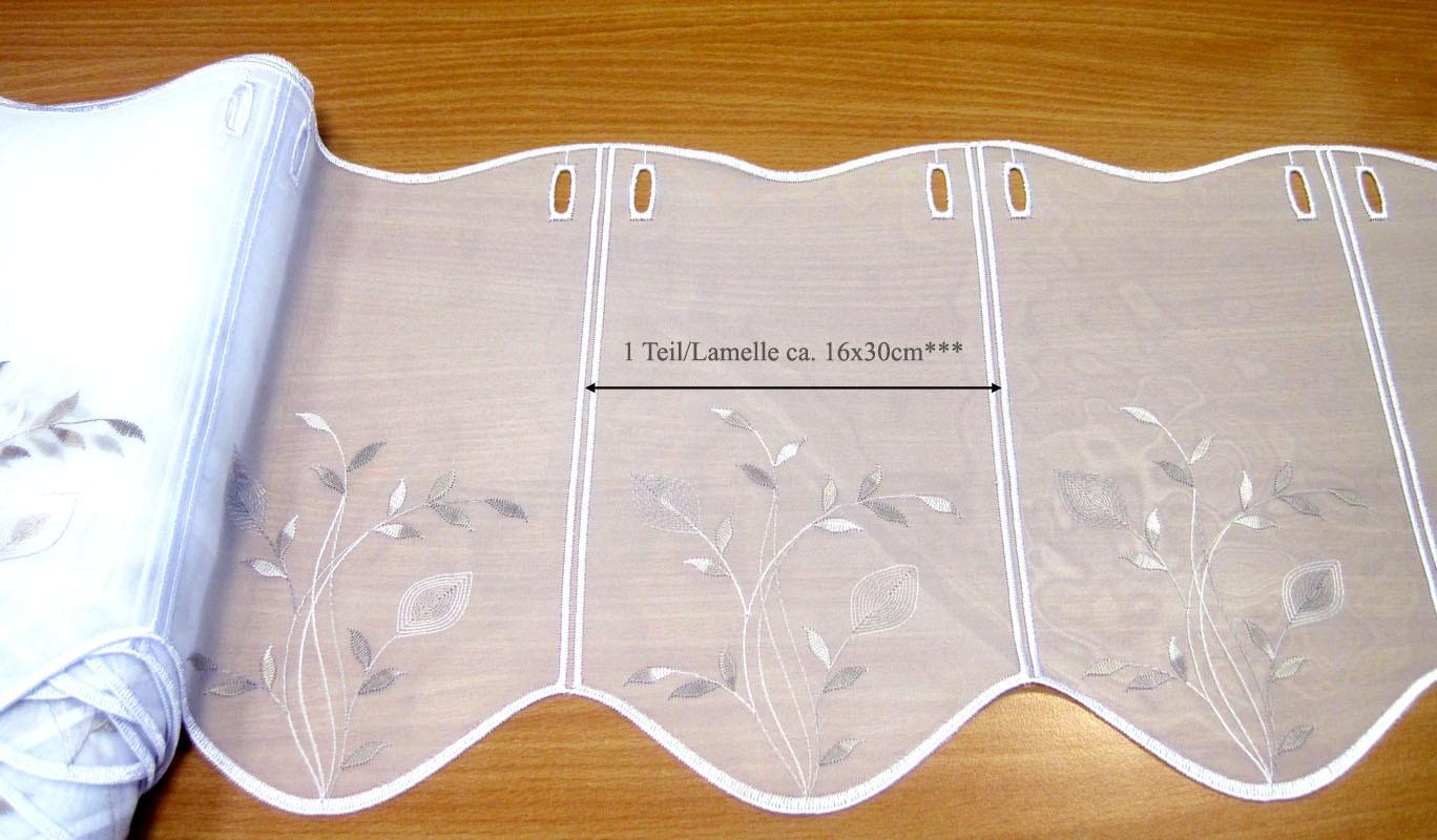 1 Teil / Lamelle Kurzgardine weiß - taupe 16 x 30 cm B/H