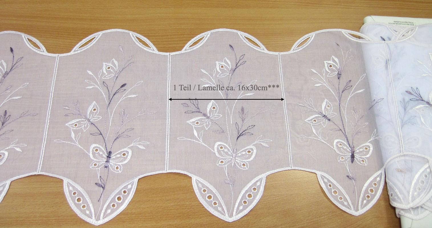 1 Teil / Lamelle Kurzgardine weiß - violett 16 x 30 cm B/H