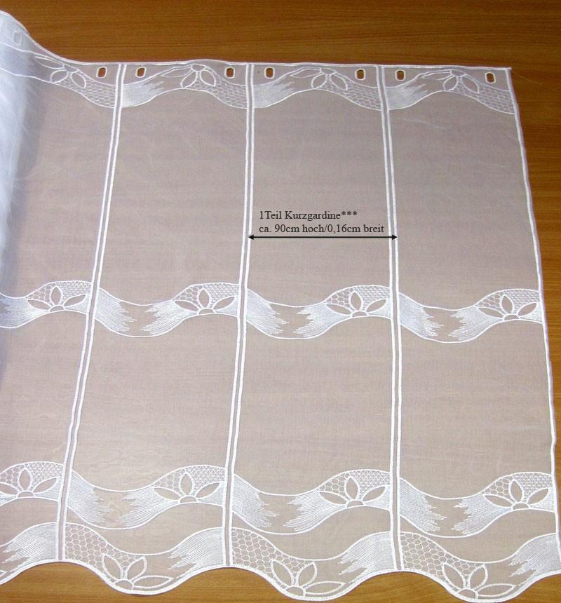 1 Stück Kurzgardine Panneaux mit Stickerei, weiß ca. 0,16cm x 0,90cm (B/H)