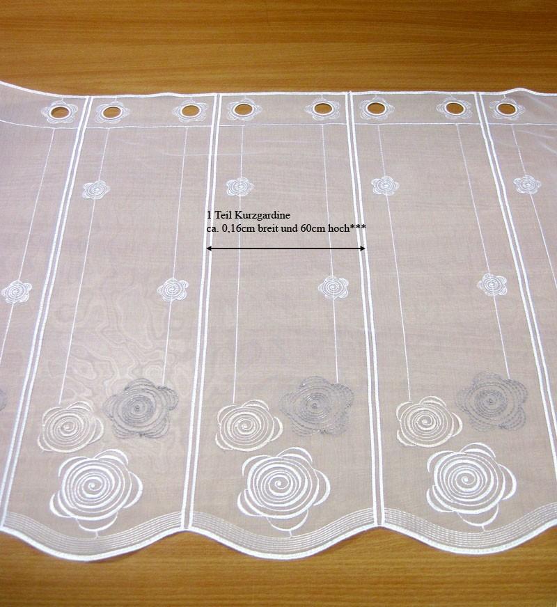 Kurzgardine mit Stickerei, weiß-champagner-taupe nach Maß ca. 60cm hoch