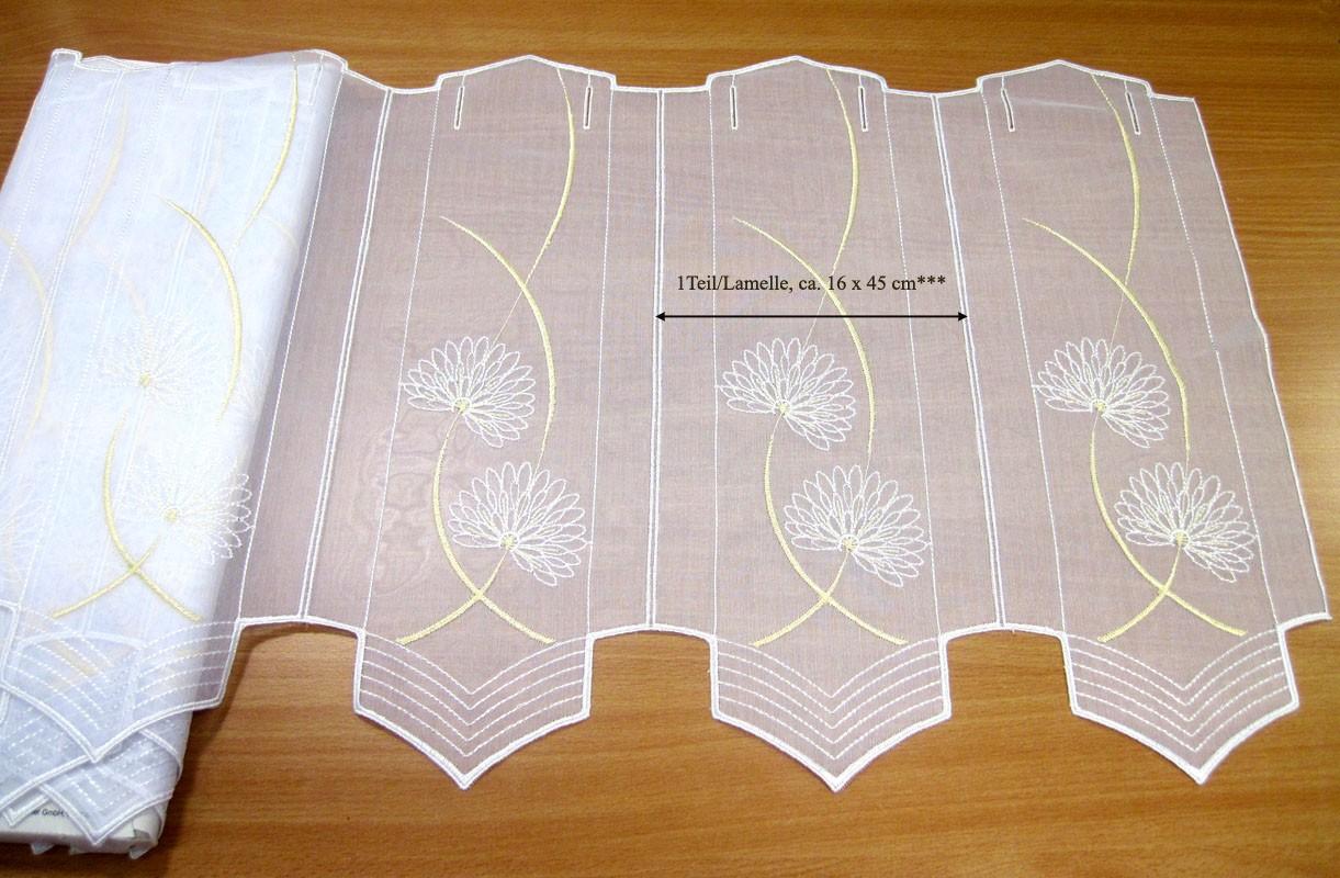 1 Teil / Lamelle Kurzgardine weiß - gelb 16 x 45 cm B/H