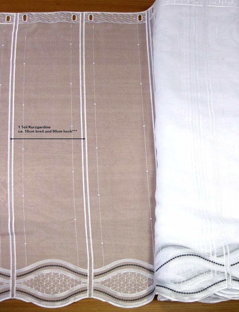 1 Teil Kurzgardine - Panneaux weiß/grau mit Stickerei ca. 16 x 90cm (B/H)