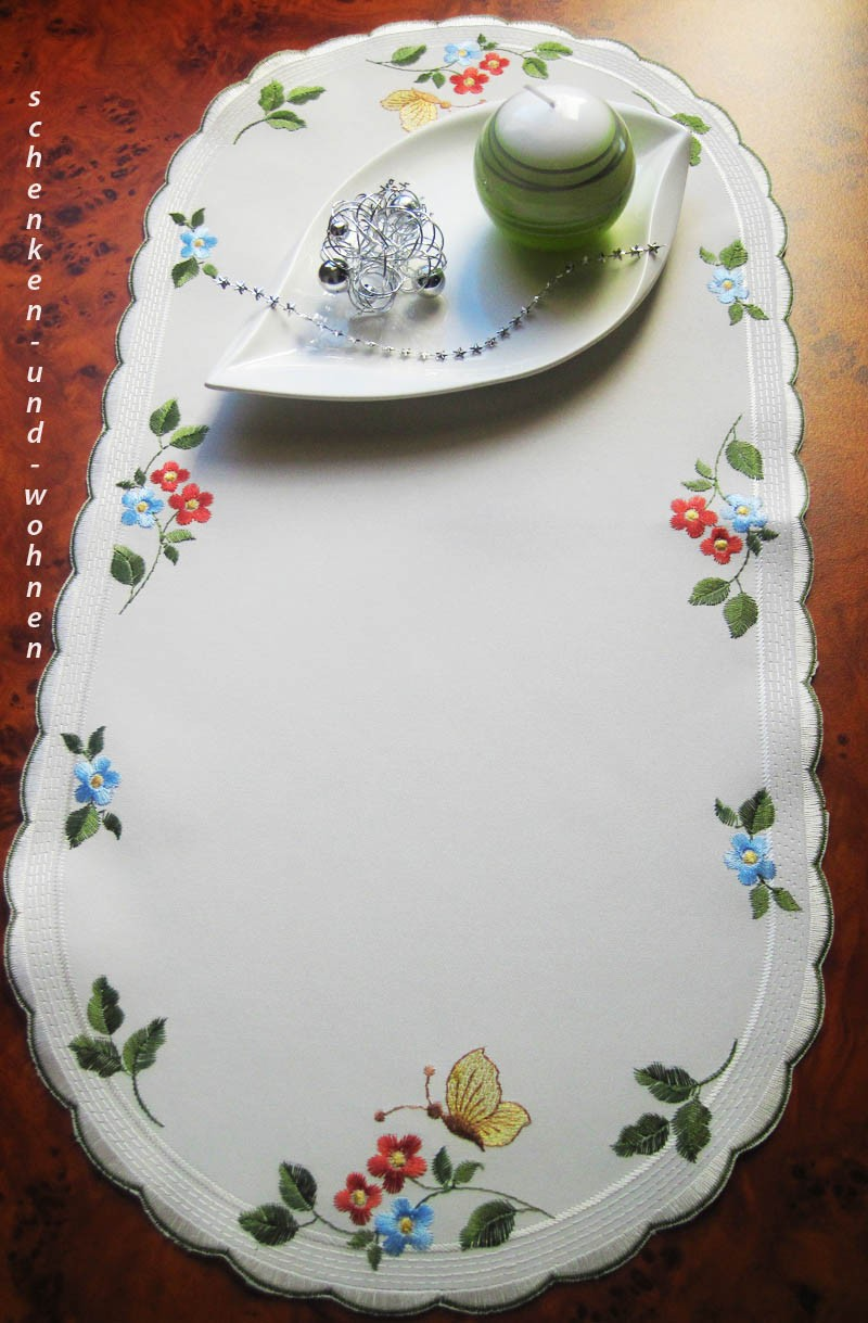 Tischläufer Blütenkreis ca. 28 x 56 cm oval, Satin sekt