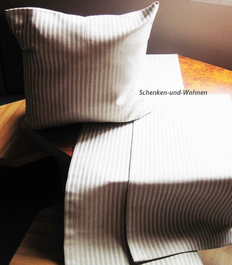 Kissenhülle Beige mit hellen Streifen, dezenter Glanz ca. 40 x 40 cm