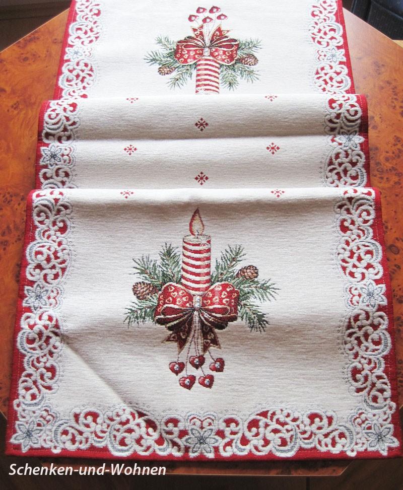 """Weihnachtsläufer """"Kerze"""" Rot/Creme Gobelin, 36 x 100 cm"""