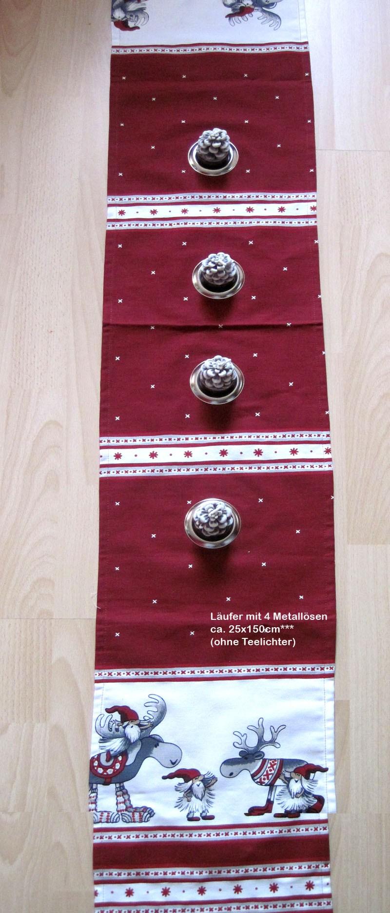 Läufer  Weihnachts-Elch mit 4 Ösen rot/grau/weiß,  ca.25 x 150 cm