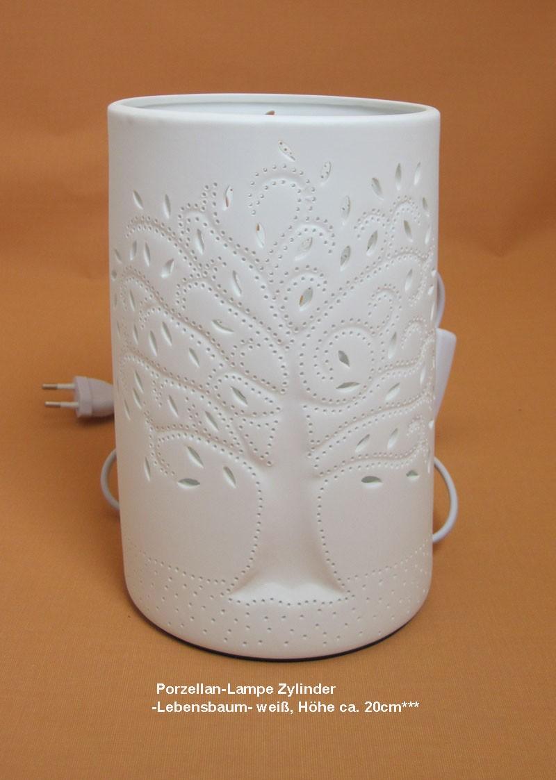 Porzellan-Lampe Zylinder -Lebensbaum- weiß, Höhe ca. 20cm