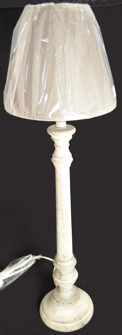 Stehlampe mit Holzfuß  braun gekalkt