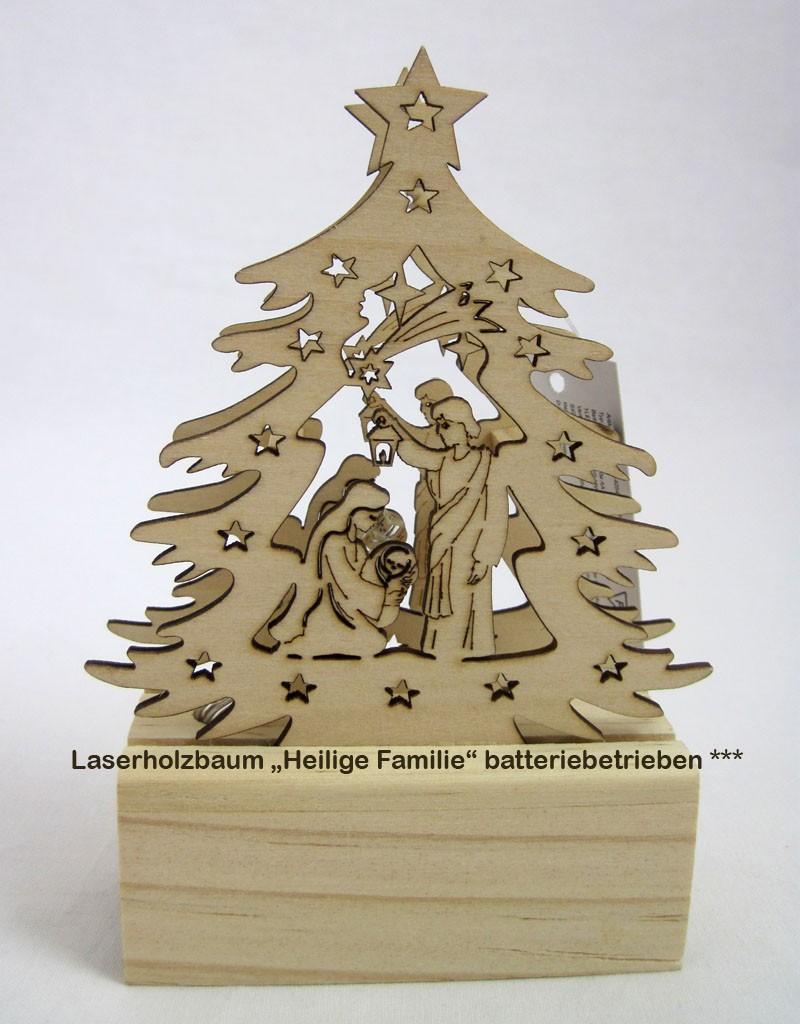 Mini-LED-Laserholz-Baum - Heilige Familie - für Batteriebetrieb 13 x 7 x 11 cm