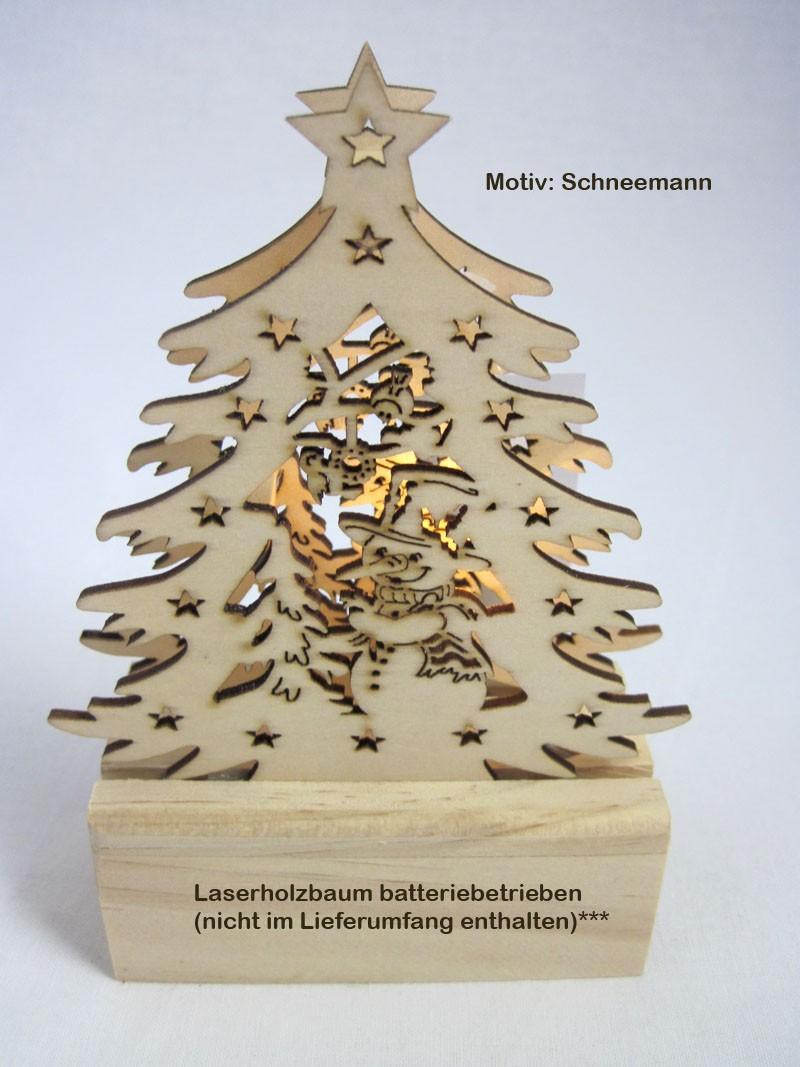 Mini-LED-Laserholz-Baum - Schneemann - für Batteriebetrieb 13 x 7 x 11 cm