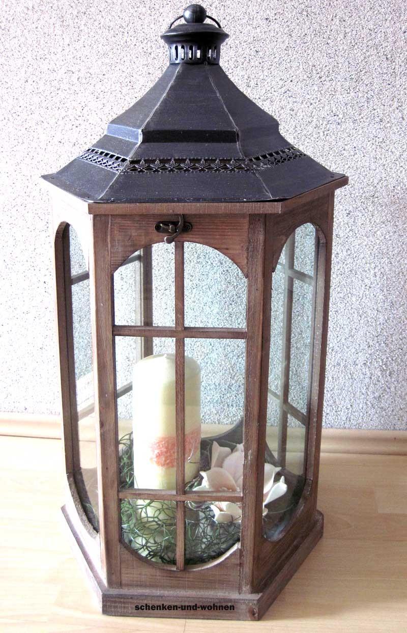 Deko - Holz - Laterne mit Metalldach, sechseckig braun, ca. 80 cm hoch