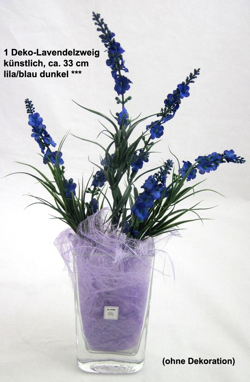 1 Deko-Lavendelzweig, künstlich, lila/blau dunkel ca. 33 cm