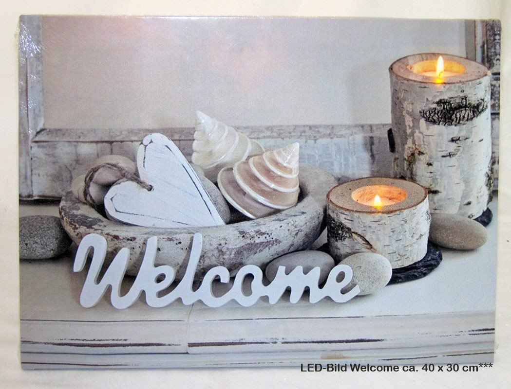 LED-Bild Welcome mit 2 LED`s ca. 40 x 30 cm