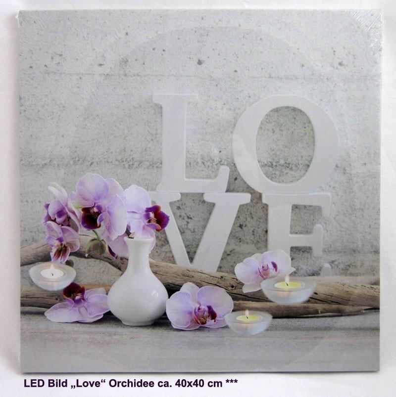 "LED Bild ""Love"" Orchidee ca.40x40 cm"