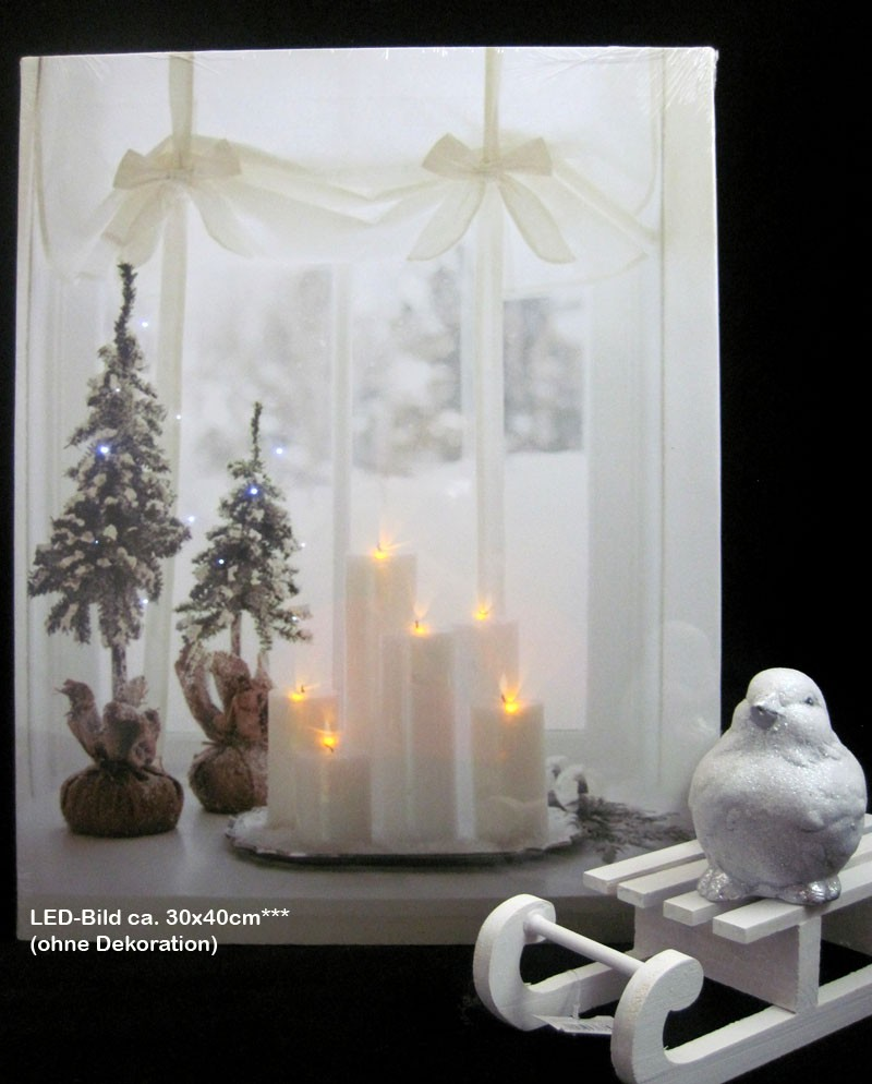 Weihnachtliches LED-Bild natur-farbig, ca. 40 x 30 cm
