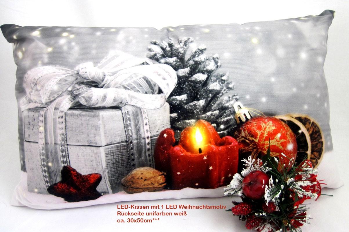 LED- Kissen mit 1 LED Timerfunktion Weihnacht TP 17053-B, ca.30 x 50 cm