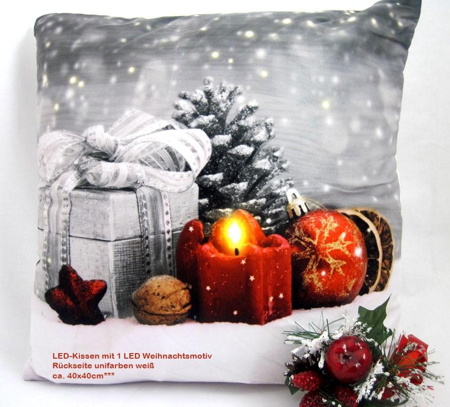 LED- Kissen mit 1 LED Timerfunktion Weihnacht TP 17053-C, ca. 40 x 40 cm