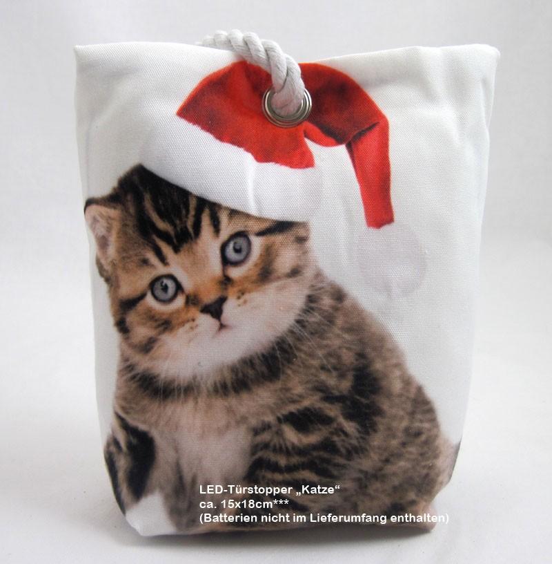 """Weihnachtlicher LED-Türstopper """"Katze"""" mit 1LED ca. 15 x 18 cm"""