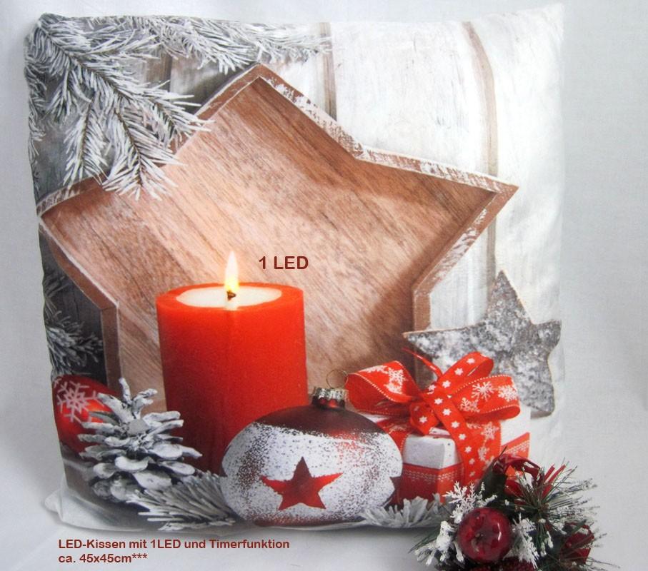 LED- Kissen mit 1 LED Timerfunktion Weihnacht BD 506, ca.45 x 45 cm
