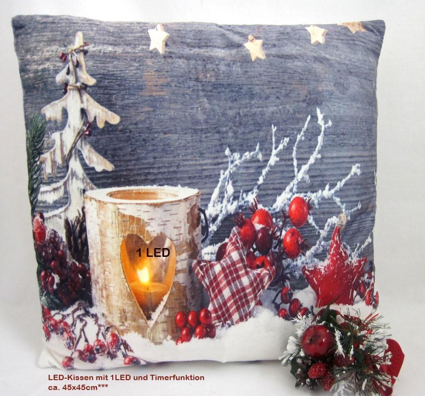 LED- Kissen mit 1 LED Timerfunktion Weihnacht BD 507, ca.45 x 45 cm