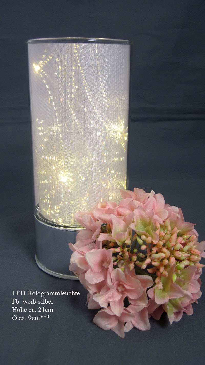 LED Leuchte mit Hologrammeffekt silber warmweiß, ca. 21 cm