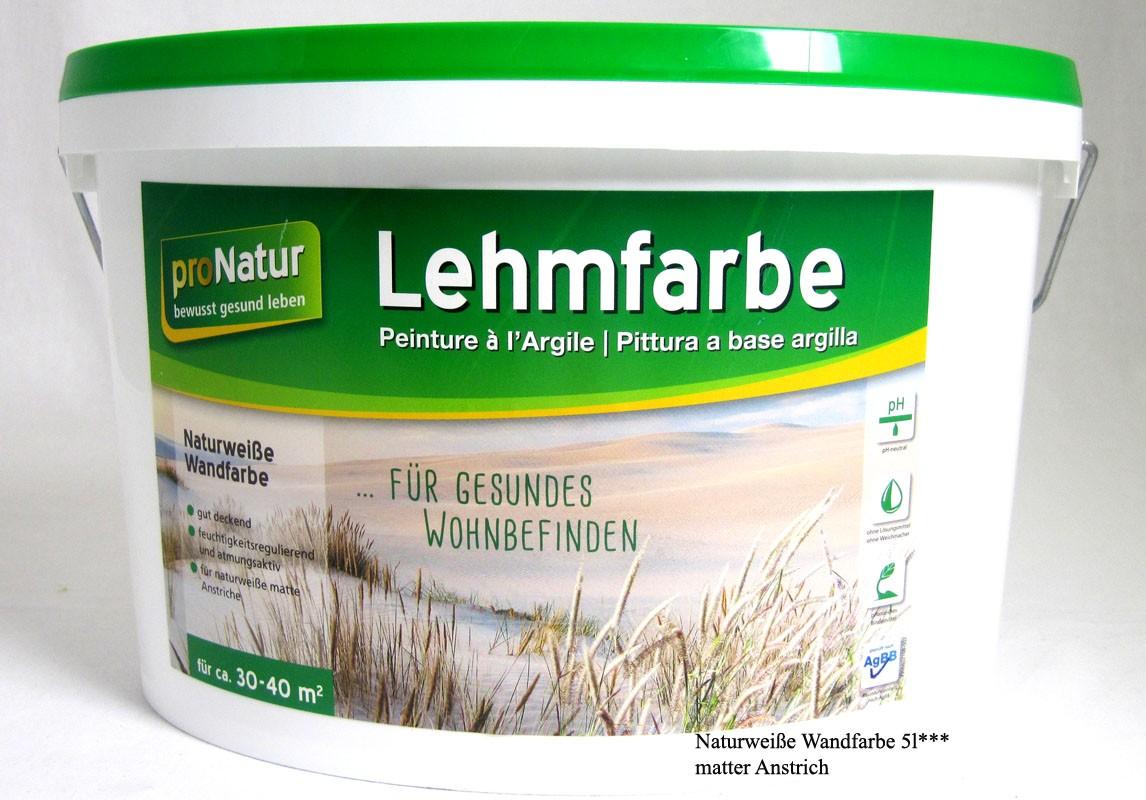 ProNature Lehmfarbe - naturweiße, matte Wandfarbe 5L