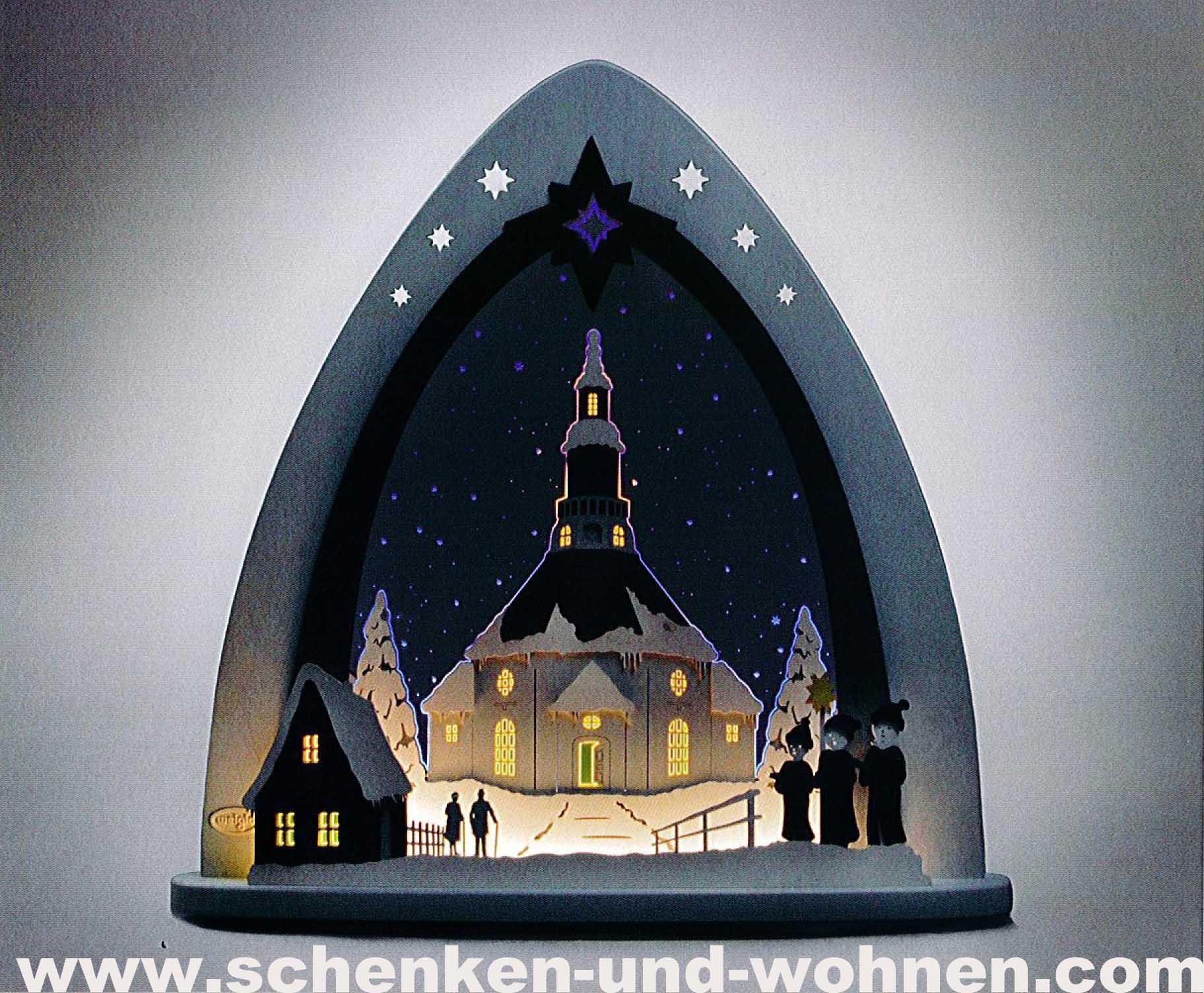 """Lichterspitze LED  """"Seiffener Kirche"""" 52 x 53,5 x 9 cm (L/H/T)"""