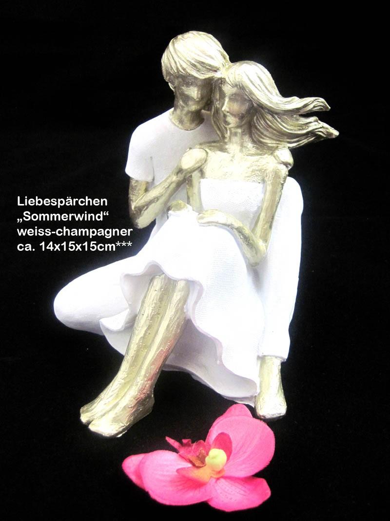 "Francis Liebespärchen ""Sommerwind"", weiss/champagner ca. 14x15x15 cm (T/B/H)"