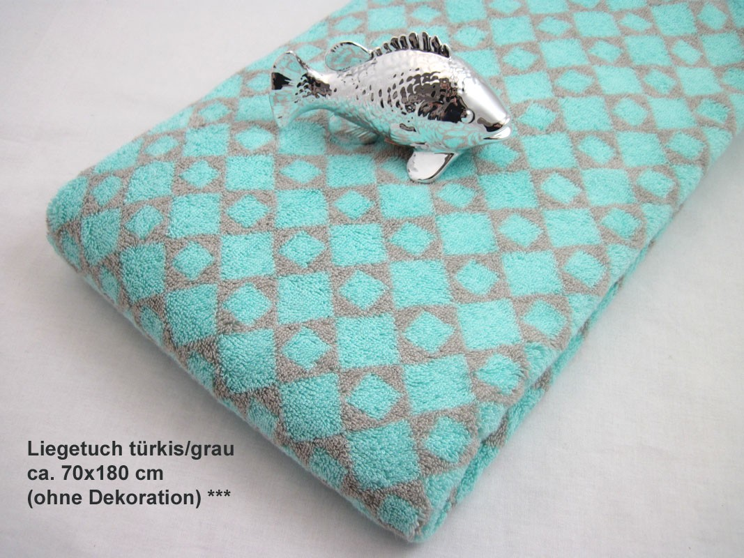 Liegetuch Handtuch Cawö Diamant türkis/grau ca. 70x180 cm