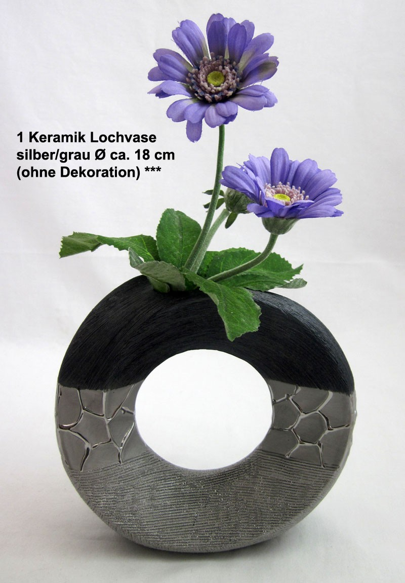 1 Keramik Lochvase silber/grau Ø ca. 18 cm