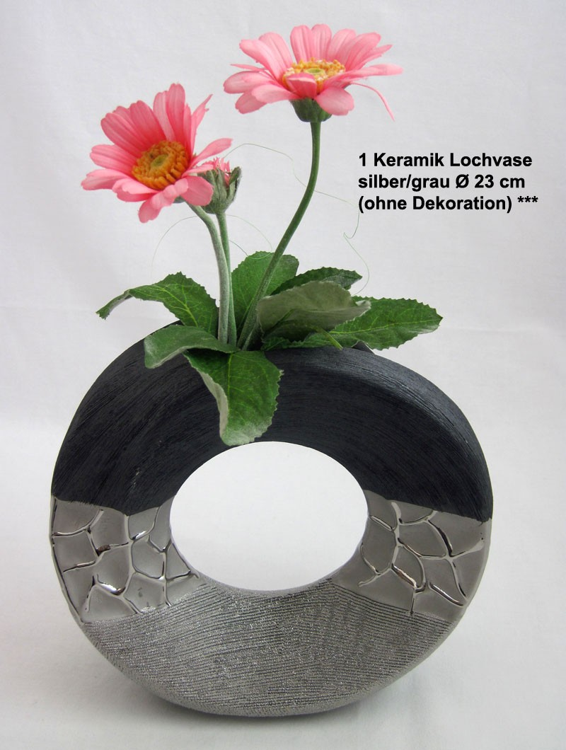 1 Keramik Lochvase silber/grau Ø ca. 23 cm