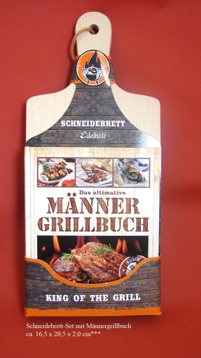 Schneidebrett-Set mit Männergrillbuch ca. 16,5 x 20,5 x 2,0 cm