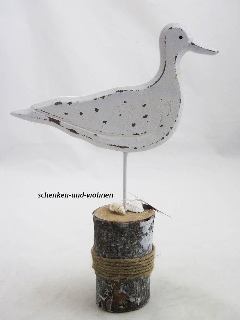 Holz-Möwe auf Poller sort., ca. 22 cm