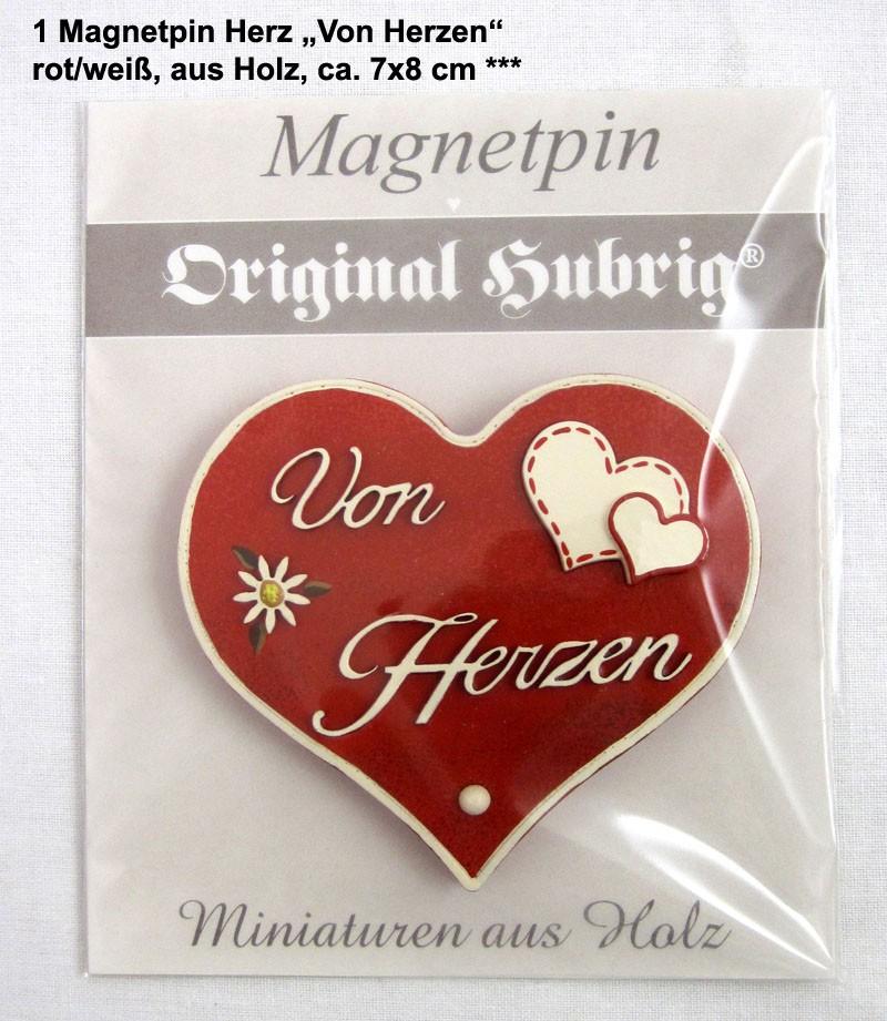 1 Magnetpin Herz Von Herzen, rot/weiß, aus Holz, ca. 7x8 cm