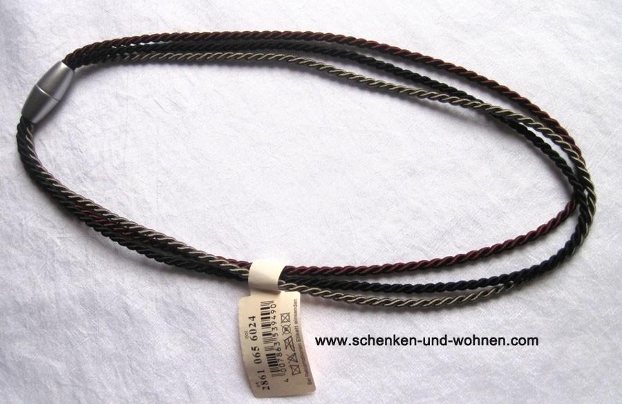 Raffhalter mit Magnetverschluss 64/32 cm schwarz/taupe/weinrot Fb. 6024