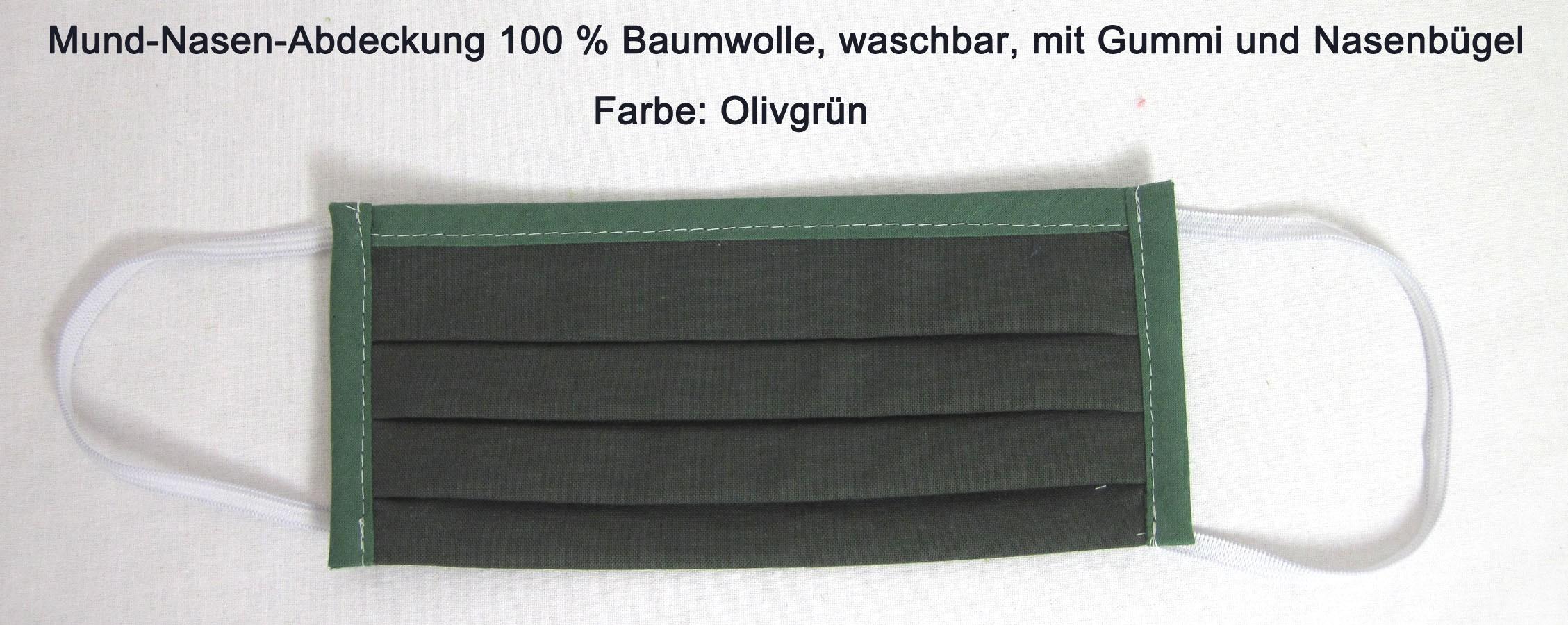 Waschbare Mund-Nasen-Abdeckung aus 100 % Bw ca. 17x10 cm olivegrün mit Gummi