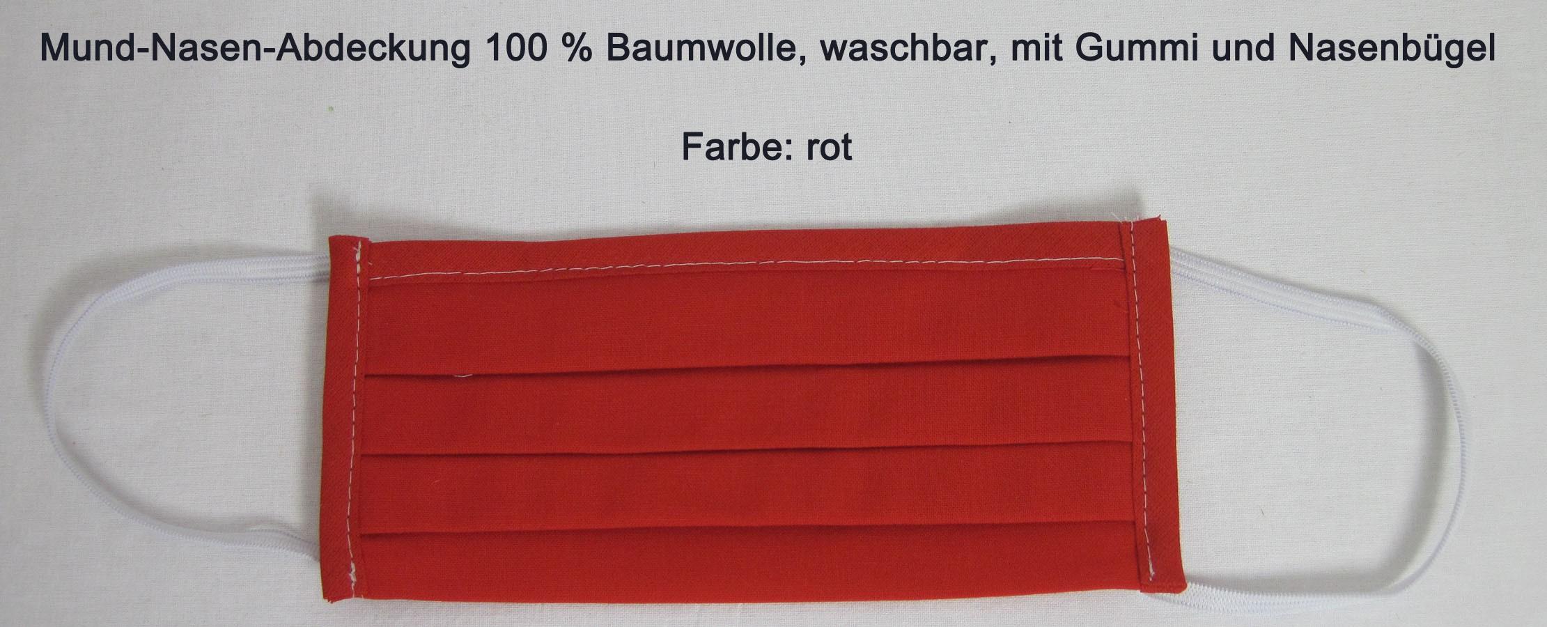 Waschbare Mund-Nasen-Abdeckung aus 100 % Bw ca. 17x10 cm rot mit Gummi