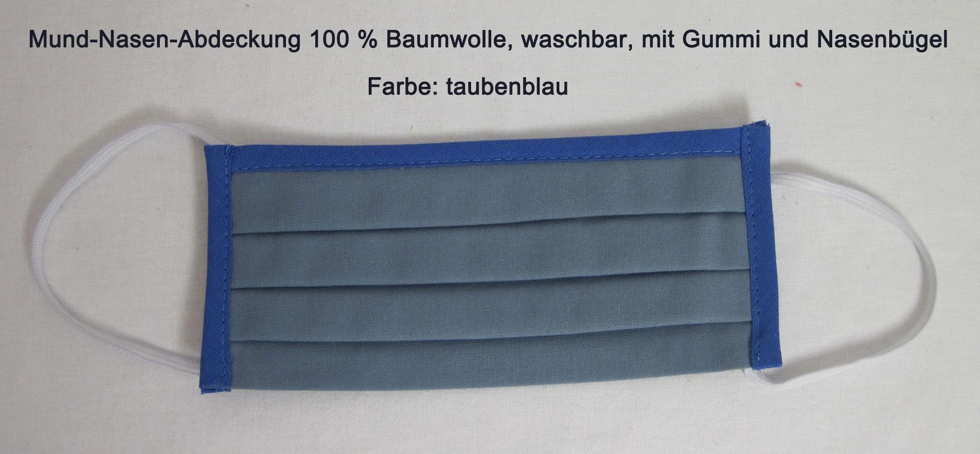 Waschbare Mund-Nasen-Abdeckung aus 100 % Bw ca. 17x10 cm taubenblau mit Gummi