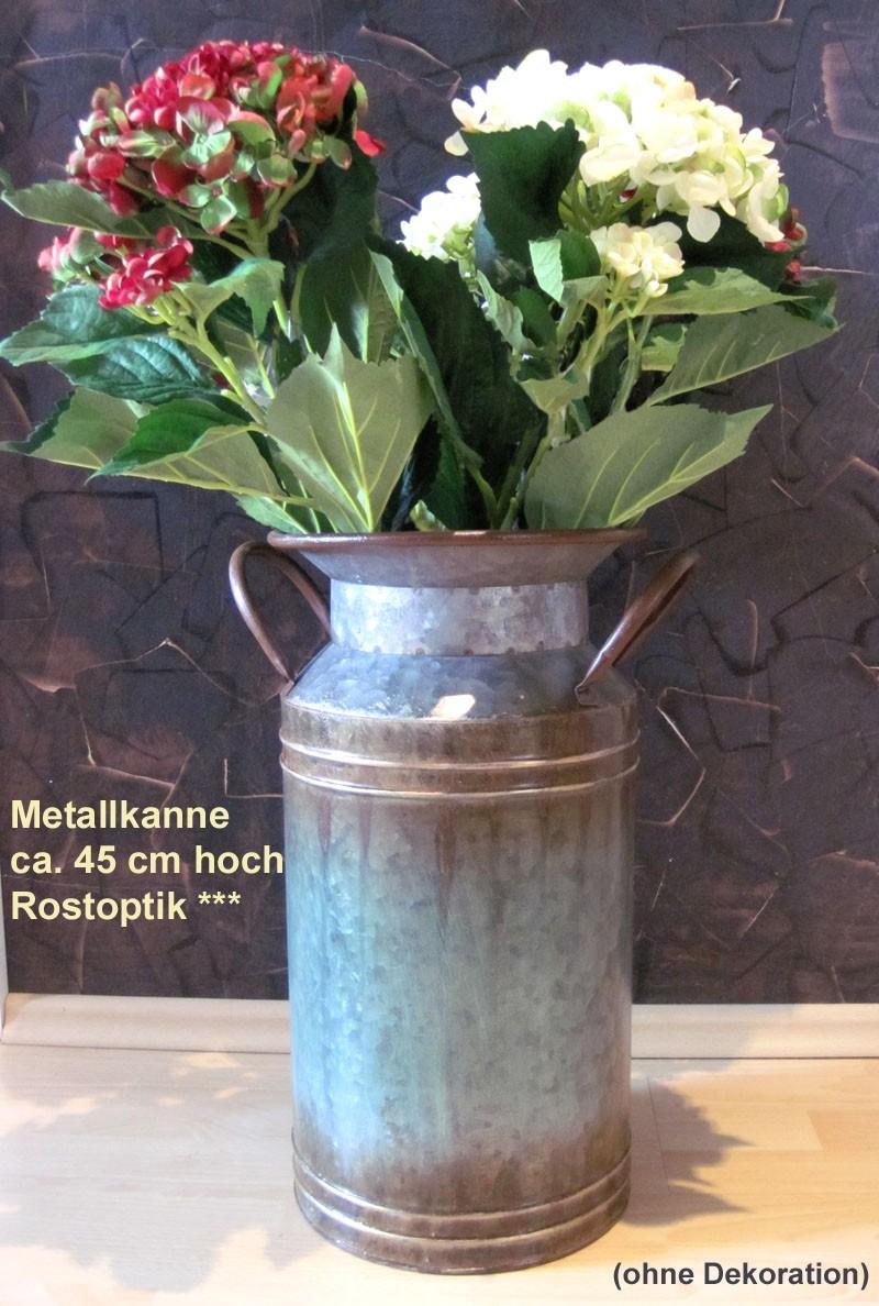 Metallkanne in Rostoptik ca. 45x30x24 cm (H/B/T)